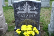 Reverse tapered headstone, bahama blue granite, deep roses and cross design