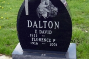 St. Anthony etching on single grave tombstone