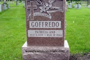 Headstone with rose design