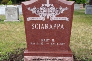 2 person grave upright headstone in polished red granite