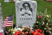 Hand carved Sacred Heart of Jesus single upright headstone