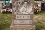 single Catholic headstone - Laurentian Rose granite from Canada