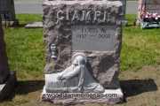 Hand carved Christ in the garden single grave design erected in Holy Cross Cemetery, Malden, MA