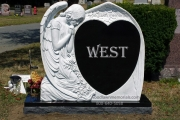 Angel headstone - custom carved