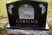 hand carved sacred heart of Jesus double lot gravestone - Lynn Massachusetts