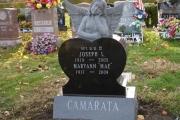 dreaming angel headstone in black granite
