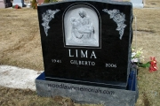 Hand carved Pieta on black granite erected in Winthrop Cemetery, Bell'Isle section