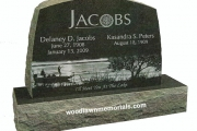 Bedford MA headstone featuring laser etched fishing scene