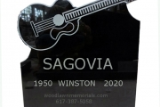 guitar design headstone monument