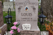 Unpolished 2 person gravestone carved in Rose color granite