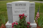 Unpolished headstone with columns - Swampscott MA