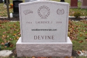 unpolished pink granite headstone